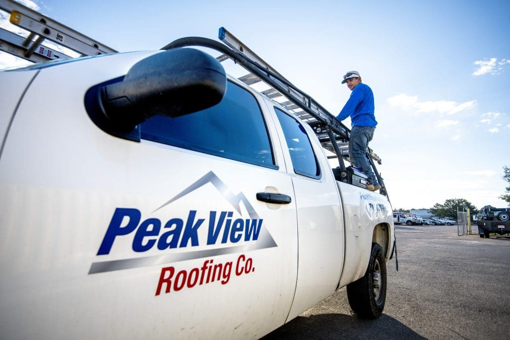 Peak View Roofing Truck